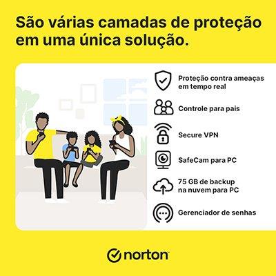 Norton Antivírus Security 360 Prem. 10 dispositivos, Licença 12 meses, Digital para Download, Nortonlifelock - UN 1 UN