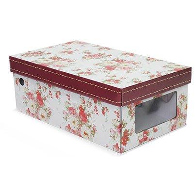 Caixa organizadora retangular visor flores 30x17,5x11 Boxgraphia PT 1 UN