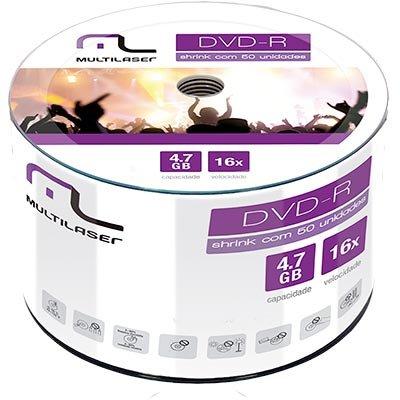 Dvd -r gravável 4.7gb 120min 16x DV061 Multilaser PT 50 UN