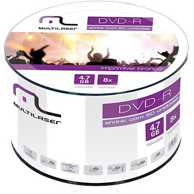 Dvd -r gravável 4.7gb 120min 8x printable DV052 Multilaser PT 50 UN