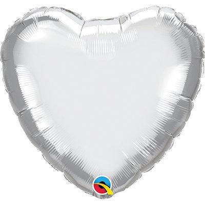 Balão de microfoil 46cm coração prata cromado 90034 Qualatex PT 1 UN