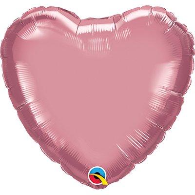 Balão de microfoil 46cm coração rose cromado 90047 Qualatex PT 1 UN
