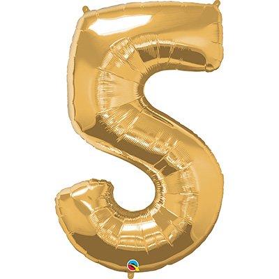 """Balão de microfoil 111,7cm número """"5"""" ouro 30489 Qualatex PT 1 UN"""