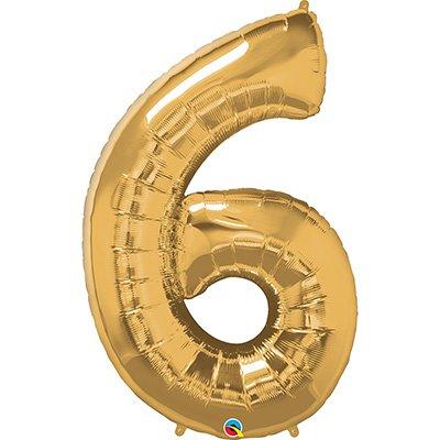 """Balão de microfoil 106,6cm número """"6"""" ouro 30493 Qualatex PT 1 UN"""