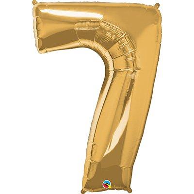 """Balão de microfoil 106,6cm número """"7"""" ouro 30497 Qualatex PT 1 UN"""