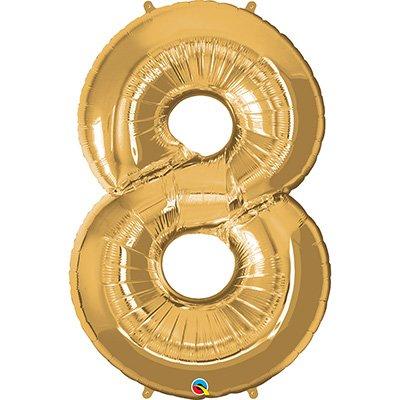 """Balão de microfoil 106,6cm número """"8"""" ouro 30501 Qualatex PT 1 UN"""
