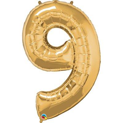"""Balão de microfoil 106,6cm número """"9"""" ouro 30505 Qualatex PT 1 UN"""