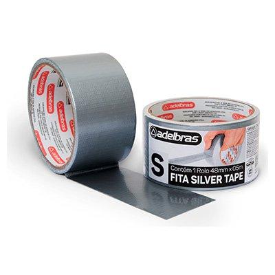 Fita adesiva multiuso 48mmx05m silver tape prata Adelbras PT 1 UN