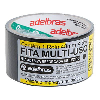 Fita adesiva multiuso 48mmx05m silver tape preta Adelbras PT 1 UN