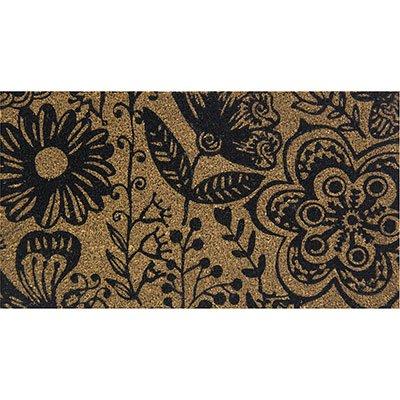 Tapete capacho 60x33cm Floral preto Colorful PT 1 UN