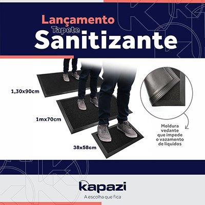 Tapete sanitizante 38x58cm preto com borda 5cm TKS0103 Kapazi PT 1 UN