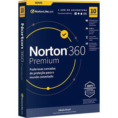 Norton Antivírus Security 360 Premium 10 dispositivos, Licença 12 meses, NortonLifeLock  - CX 1 UN
