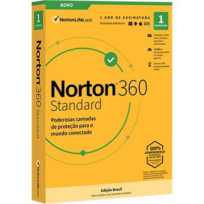 Norton 360 Standard 1 dispositivo, Licença 12 meses, NortonLifeLock - CX 1 UN