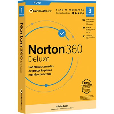 Norton Antivírus Deluxe 3 dispositivos, Licença 12 meses, NortonLifeLock - CX 1 UN