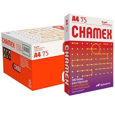 Papel Sulfite 75g Alcalino 210x297 A4 Chamex Branco - Caixa com 10 resmas - Ipaper CX 5000 FL CX 10 UN