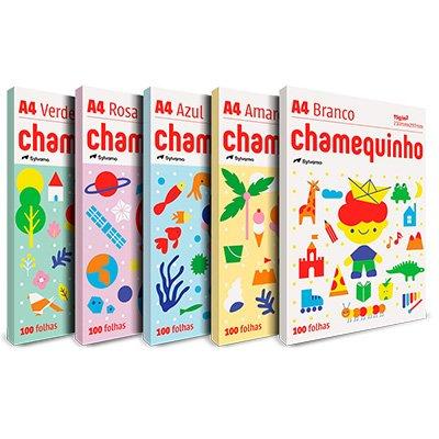 Papel Sulfite Chamequinho A4 75g 210mmx297mm (amarelo, azul, marfim, rosa e verde) - Ipaper CX 1 CX