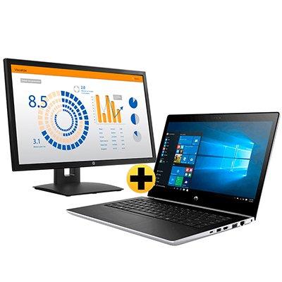 """Notebook Probook 440G5 6VV85LA, Processador i5 1.6ghz, 4GB de Memória, 500GB + 16GB de Armazenamento, Tela de 14"""", Windows 10 Pro - HP + Monitor LED 23,6"""" Widescreen V24b 2XM34AA HP CX 1 UN"""