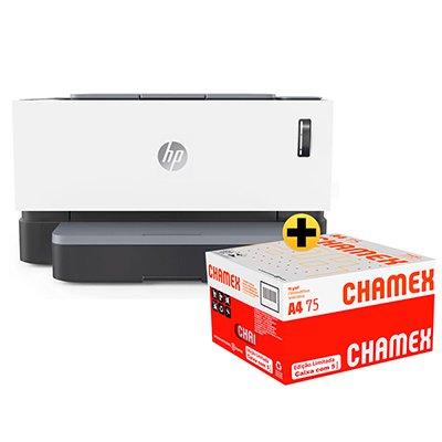 Impressora Laser Tanque Toner Neverstop 1000a 4RY22A-V2 HP + Caixa de Papel Sulfite Chamex A4 75g 210mmx297mm Ipaper CX 2500 FL CX 1 UN