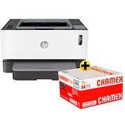 Impressora laser tanque de toner Neverstop 1000w 4RY23A HP + Caixa de Papel sulfite Chamex A4 75g 210mmx297mm 2500 FL -  Ipaper  CX 1 UN