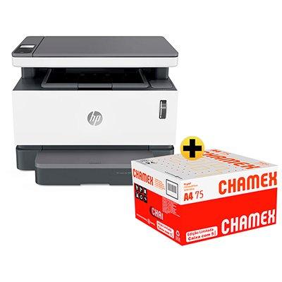 Impressora Multifuncional laser tanque de toner Neverstop 1200a 4QD21A HP + Caixa de Papel sulfite Chamex A4 75g 210mmx297mm 2500 FL - Ipaper  CX 1 UN