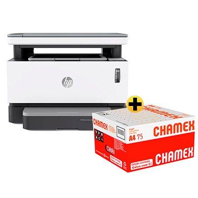 Impressora Multifuncional laser tanque de toner Neverstop 1200w 4RY26A HP + Caixa de Papel sulfite Chamex A4 75g 210mmx297mm 2500 FL Ipaper  CX 1 UN