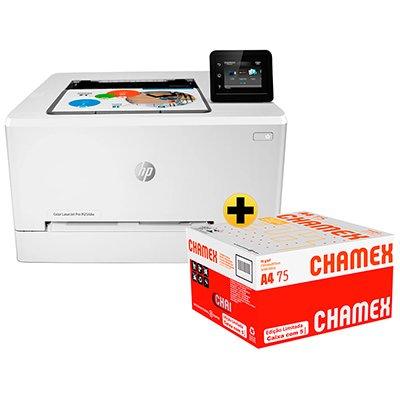 Impressora Laser Color Laserjet Pro 254DW T6B60A-V1 HP + Caixa de Papel Sulfite Chamex A4 75g 210mmx297mm Ipaper CX 2500 FL CX 1 UN