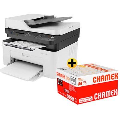 Impressora Multifuncional laser MFP 137fnw 4ZB84A HP + Caixa de Sulfite Chamex A4 75g 210mmx297mm 2500 FL - Ipaper  CX 1 UN