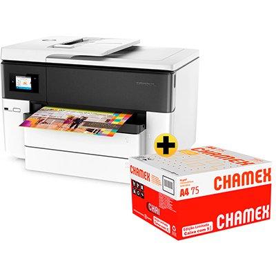 Impressora Multifuncional A3 Officejet Pro 7740 G5J38A HP + Caixa de Sulfite Chamex A4 75g 210mmx297mm 2500 FL - Ipaper  CX 1 UN