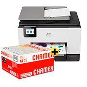 Impressora Multifuncional Officejet Pro 9020 1MR69C HP + Caixa de Sulfite Chamex A4 75g 210mmx297mm Ipaper CX 2500 FL CX 1 UN