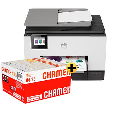 Impressora Multifuncional Officejet Pro 9020 1MR69C HP + Caixa de Papel sulfite Chamex A4 75g 210mmx297mm Ipaper CX 2500 FL CX 1 UN