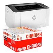 Impressora laser 107w 4ZB78A HP + Caixa de Papel sulfite Chamex A4 75g 210mmx297mm Ipaper CX 2500 FL CX 1 CX