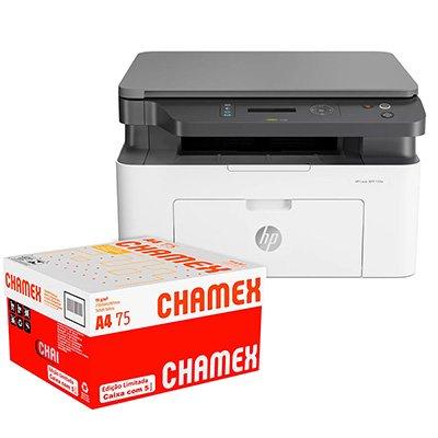 Impressora Multifuncional laser MFP 135w 4ZB83A HP + Caixa de Papel sulfite Chamex A4 75g 210mmx297mm Ipaper CX 2500 FL CX 1 CX