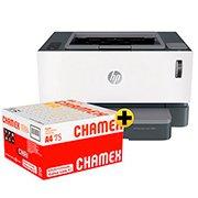 Impressora laser tanque de toner Neverstop 1000n 5HG74A HP + Caixa de Papel sulfite Chamex A4 75g 210mmx297mm Ipaper CX 2500 FL CX 1 CX