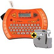 Rotulador Eletrônico Laranja PT-70 + Fita p/ Rotulador 12mmx8m Branca m231 - Brother CX 1 UN