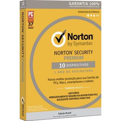 Norton Antivírus Security Premium para 10 dispositivos 12 meses Symantec CX 1 UN