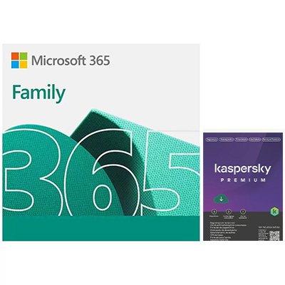 Microsoft 365 Family: 1 licença para até 6 usuários - Assinatura 15 meses + Kaspersky Antivírus Total Security 5 dispositivos - Licença 12 meses - Digital para Download CX 1 UN