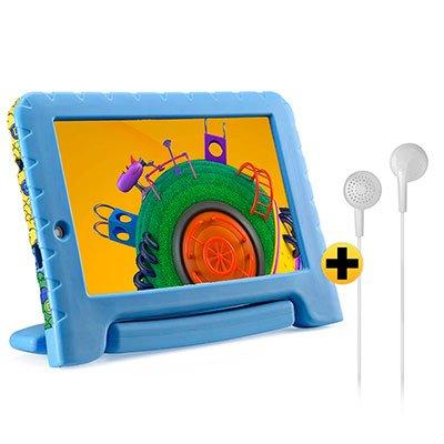 "Tablet Discovery Kids, 16GB de Memória, Tela de 7"",  Azul, NB309, Multilaser + Fone de ouvido play som estéreo branco PH313 Multilaser - CX 1 UN CX 1 UN"