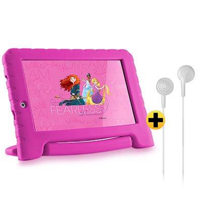 "Tablet Disney Princesas Plus, 16GB de Memória, Tela de 7"", Rosa, NB308, Multilaser + Fone de ouvido play som estéreo branco PH313 Multilaser CX 1 UN CX 1 UN"