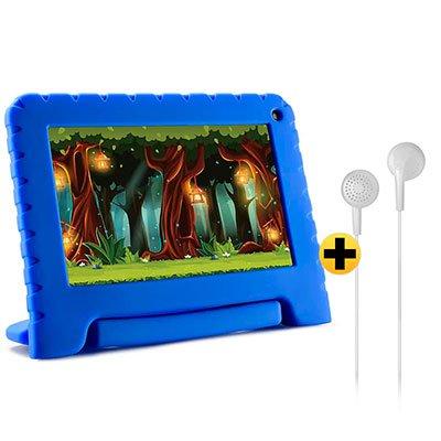 "Tablet Kid Pad Lite, 16GB de Memória, Tela de 7"", Azul, NB302, Multilaser + Fone de ouvido play som estéreo branco PH313 Multilaser CX 1 UN CX 1 UN"