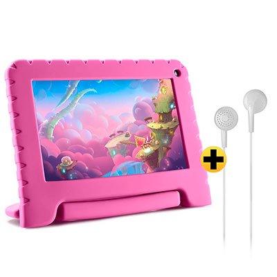 "Tablet Kid Pad Lite, 16GB de Memória, Tela de 7"", Rosa, NB303, Multilaser + Fone de ouvido play som estéreo branco PH313 Multilaser CX 1 UN CX 1 UN"