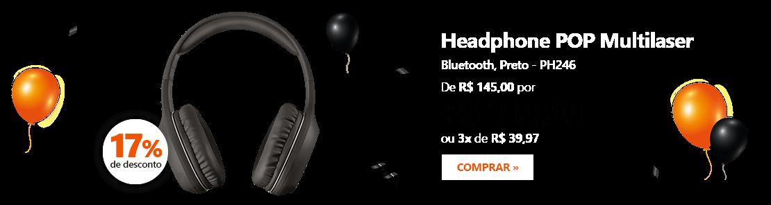 Headphone Bluetooth Pop preto PH246 Multilaser com 17% de desconto