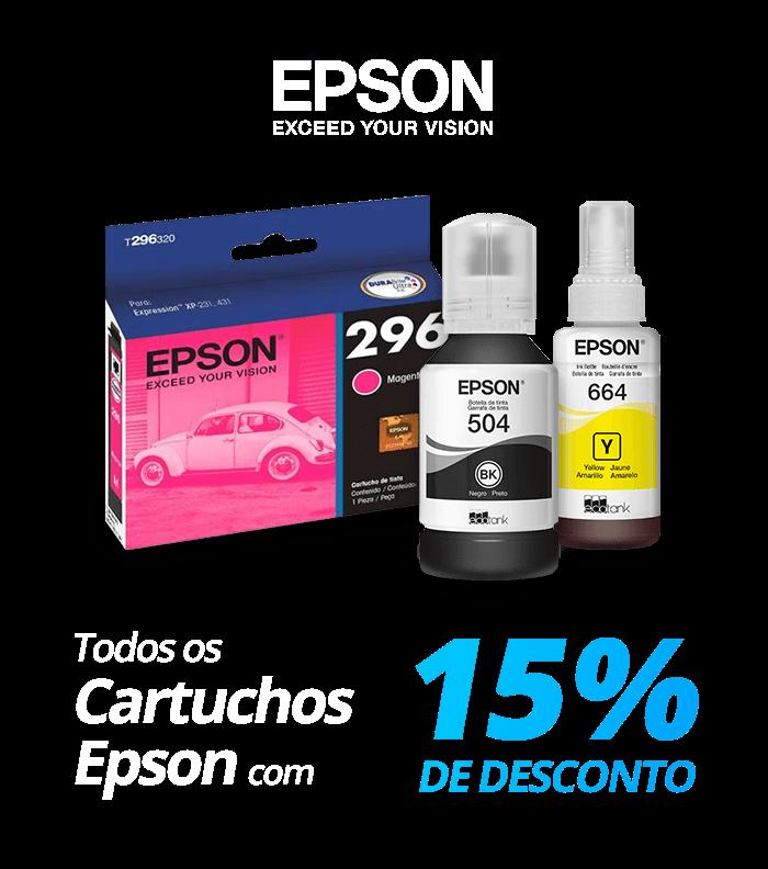 Todos os cartuchos Epson com 15% de desconto!