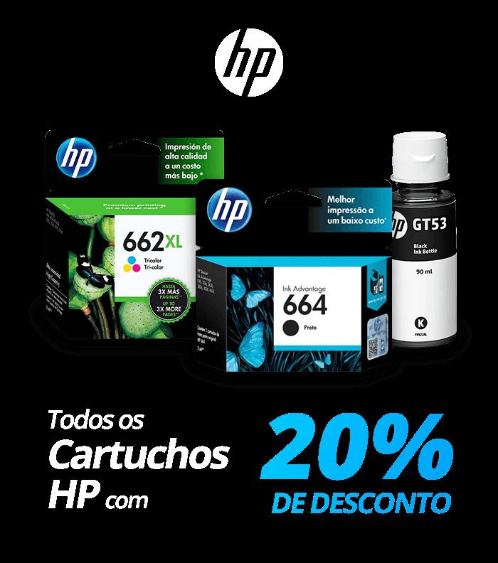 Todos os cartuchos HP com 20% de desconto!