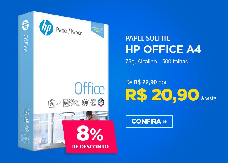 Papel sulfite HP Office A4 75g 210mmx297mm Ipaper 500 folhas