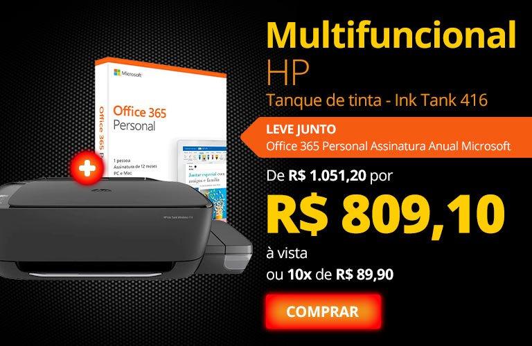 Compre Multifuncional tanque de tinta Ink Tank 416 preta Z4B55A HP e leve Office 365 Personal Assinatura Anual Microsoft