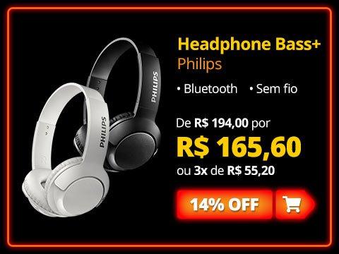Headphone Philips Bluetooth Preto Sem Fio Bass+ On Ear com 14% de desconto