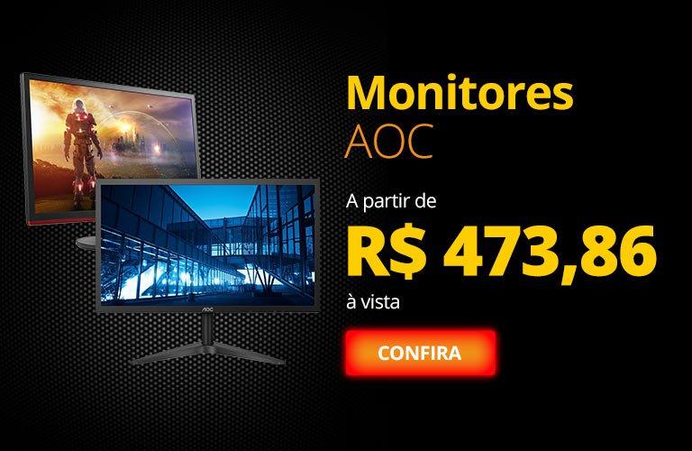 Monitores AOC a partir de R$ 473,86 à vista