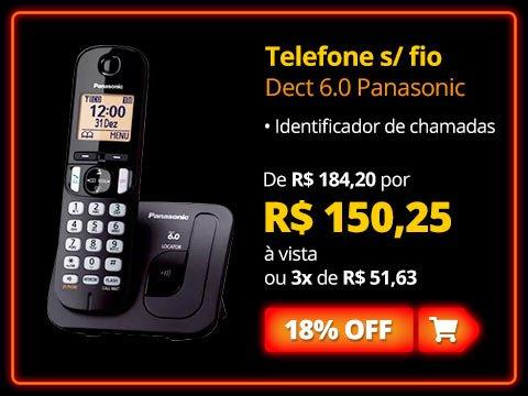 Telefone s/ fio Dect 6.0 c/ identificador de chamadas KXTGC210LBB Panasonic com 15% de desconto