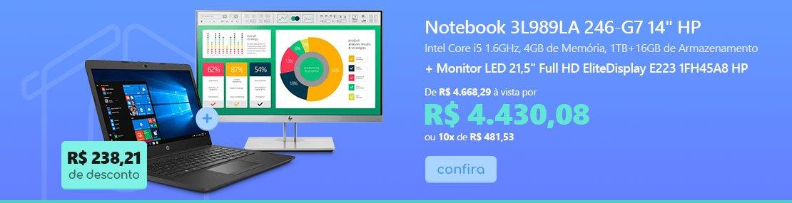 """Notebook 3L989LA 246-G7 Processador i5 (8) 1.6ghz, 4GB de Memória, 1TB+16GB de Armazenamento, Tela de 14"""" - HP + Monitor LED 21,"""" Widescreen Full HD EliteDisplay E223 1FH45A8 HP com 5% de desconto"""
