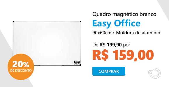 Quadro magnético 90x60cm branco moldura alumínio AL-6090MAG Easy Office com 20% de desconto